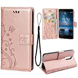 (US) Case for Nokia 8 Case, PU Leather Wallet Flip Cover Kickstand Feature with Card pocket {3 Slots}For Nokia 8 (Rose Gold)