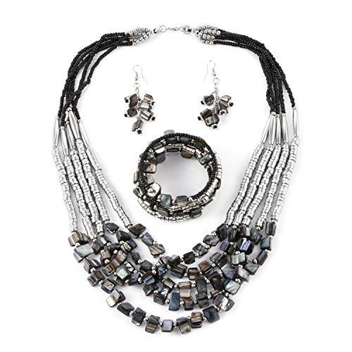 Multi Gem Earring Set - Handmade Coastal Stainless Steel Earrings Wrap Bracelet Multi Strand Necklace 22
