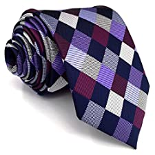 Shlax&Wing Mens Neckties Multicolored Checkered Ties For Men Wedding