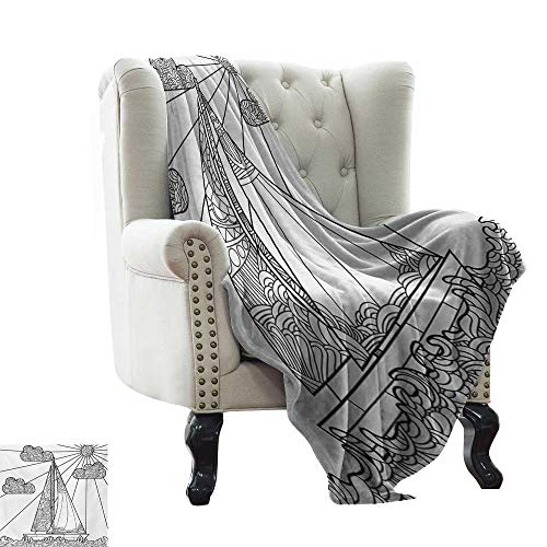 WinfreyDecor Soft Blanket Throw Money,Monochrome Pattern with Euro Dollar Yen Symbols Coins Piggy Bank Stock Graphs Doodle,Black White 60