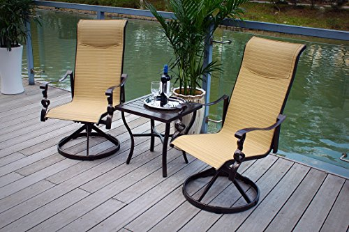 Pebble Lane Living 3pc Weather Resistant Cast Aluminum Powder-Coated Swivel Rocking Padded Sling Patio Bistro Furniture Set - ()