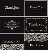 120 Elegant Thank You Cards in Black with Envelopes and Stickers - Highest Quality 6 Designs Bulk Notes Embossed with Silver Foil Letters for Wedding, Formal, Business, Graduation, Funeral 4x6