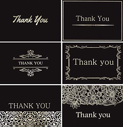 (120 Elegant Thank You Cards in Black with Envelopes and Stickers - Highest Quality 6 Designs Bulk Notes Embossed with Silver Foil Letters for Wedding, Formal, Business, Graduation, Funeral)