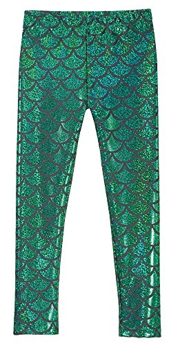 City Style Ankle Pant (City Threads Girls Leggings Metallic Mermaid Print Shiny colorful Fun Ankle Length For Style Fashion Parties Pop Of Color, Mermaid Sparkle Green, 7)