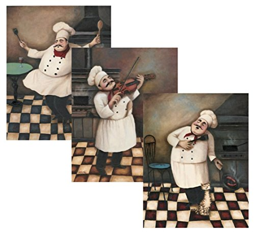 3 Jolly Chef Prints 11x14 Inches Kitchen Decor Food/wine Art Prints