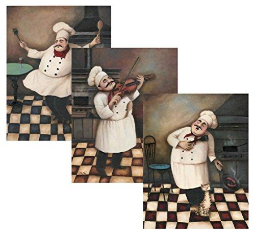 510g7SBj4%2BL - 3 Jolly Chef Prints 11x14 Inches Kitchen Decor Food/wine Art Prints