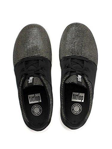 Fitflop Deportivo-pop X Negro Impresión De Lagarto De Zapatillas UK6 Negro