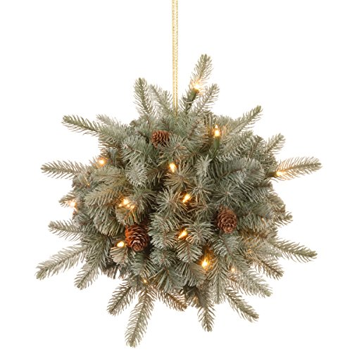 """National Tree 12 Inch """"Feel Real"""" Frosted Artic Spruce Kissing Ball with Cones and 35 Battery Operated Warm White LED Lights (PEFA1-307-12K-B) -  National Tree Company"""