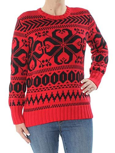Ralph Lauren $155 Womens New 1039 Red Printed Long Sleeve Sweater S Petites ()