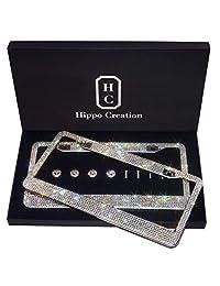 2 marcos de acero con diamantes de imitación hechos a mano para matrícula con caja de regalo, 1000 diamantes de imitación con 114 facetas, transparentes SS20 AB de cristal, Blanco