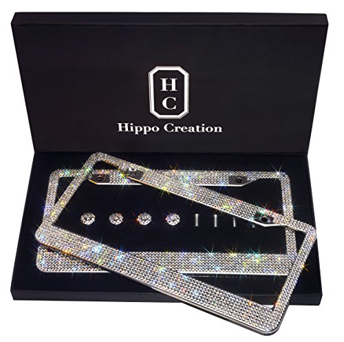 (2 Pack Luxury Handcrafted Bling White Rhinestone Premium Stainless Steel License Plate Frame with GiftBox | Over 1000 pcs Finest 14 Facets SS20 Clear White Rhinestone Crystal | Anti-Theft Screw Cap)