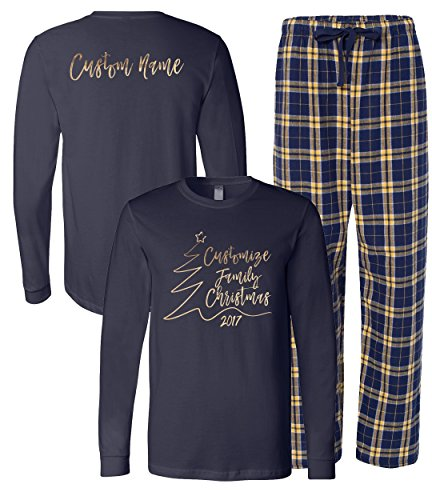 Family Christmas Personalized Matching Pajama Set, Navy/Gold, Adult (Personalized Pjs)