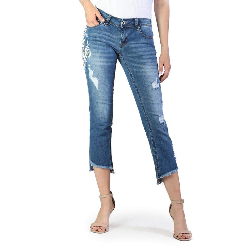 Grace in LA Women's Junior Fit UnevenHem Denim Flare Capri Jeans   JCF2194