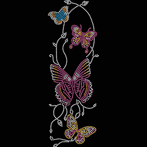 Twisted Envy Chain On Butterflies Rhinestone Diamante Crystal Iron On T Shirt Design (Swarovski Crystal Designs)