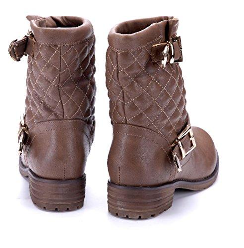 Schuhtempel24 Damen Schuhe Klassische Stiefeletten Stiefel Boots Blockabsatz Schnalle 4 cm Khaki