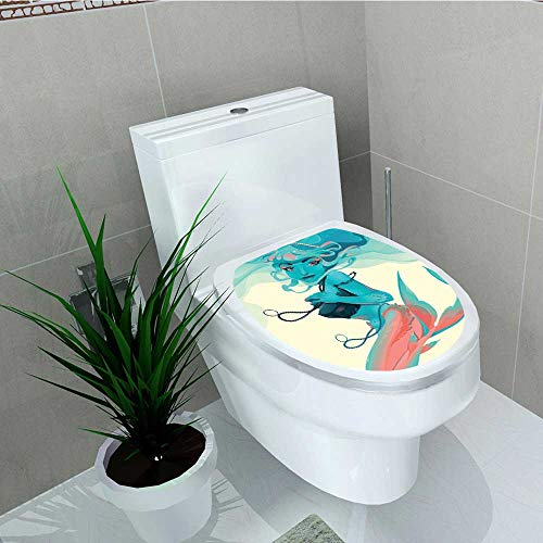 - Philip C. Williams Home Decoration Portrait of Style with Jewelry and Makeup Mythological Art Print Teal Pink Cream Toilet Cover Stickers W13 x L18