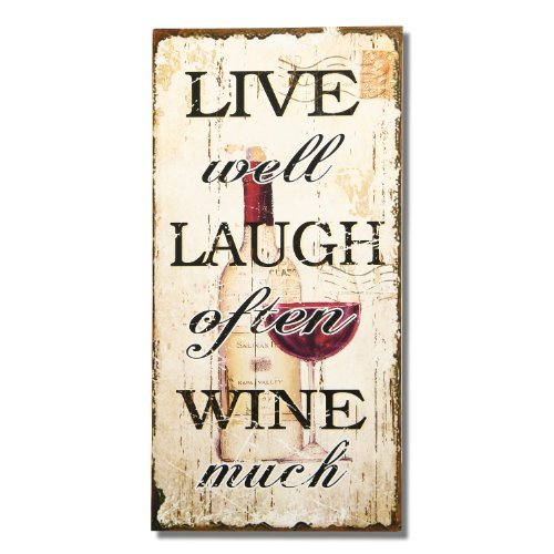 Adeco Decorative Wood Wall Hanging Plaque - Live Well/Laugh Often/Wine Much