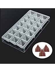 Jeteven 3D Pyramid Thickened Clear Polycarbonate Chocolate Mold Jelly Candy Making Mold 21-Piece Tray
