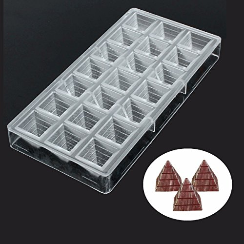 Jeteven Chocolate Mold, Jelly and Candy Mold, Non-stick 3D Pyramid Thickened PC Polycarbonate Chocolate Mould-21 Cavities