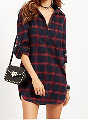 Justgoo Women's Mid-Long Style Roll Up Sleeve Casual Loose Plaid shirts Pullover Top