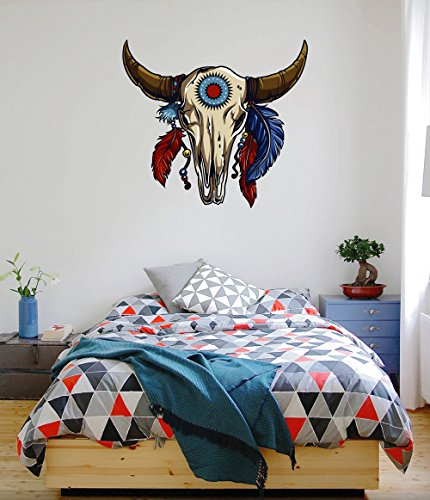 cik199 Full Color Wall decal Bezons skull buffalo bull Indian feathers livingroom bedroom