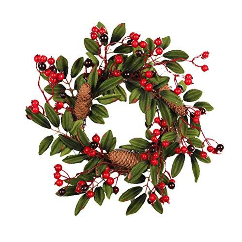 Vosarea Christmas Winter Berry Wreath Garland Artificial Pinecone Front Porch Hallway ()
