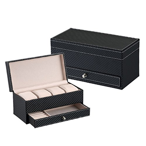 - USIX Two-Layer Large Capacity Watches Bracelets Earrings Rings Desk Storage Display Organizer Box with Drawer for Cufflinks Collar Studs Rings Accessories(Black)