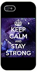 iPhone 4 / 4s Keep calm and stay strong, eye and butterfly - black plastic case / Keep calm, funny, quotes