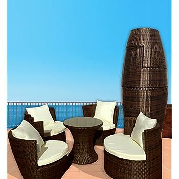 Deeco DM GV 503 Art Deck Oh Geo Vase Interlocking All Weather Wicker  Furniture Set