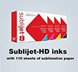 SUBLIJET HD - Ink Cartridges for Sawgrass Virtuoso SG400/SG800 - COMPLETE SET (CMYK) - WITH 110 SHEETS OF SUBLIMATION PAPER (Made in Japan)