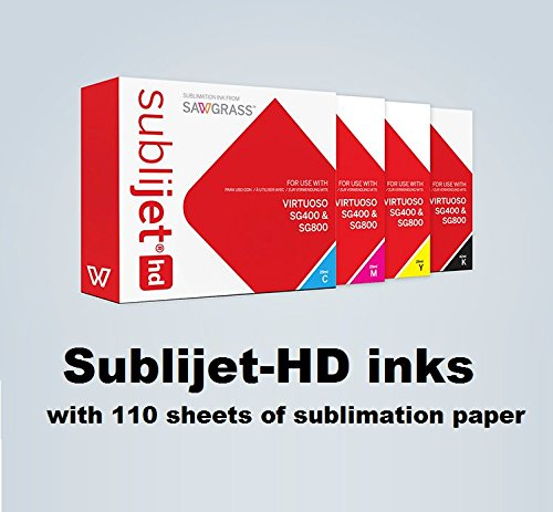 SUBLIJET HD - Ink Cartridges for Sawgrass Virtuoso SG400/SG800 - COMPLETE SET (CMYK) - WITH 110 SHEETS OF SUBLIMATION PAPER (Made in Japan) by Sawgrass