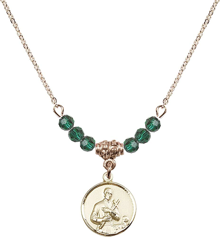 18-Inch Hamilton Gold Plated Necklace with 4mm Emerald Birthstone Beads and Gold Filled Saint Gerard Charm.
