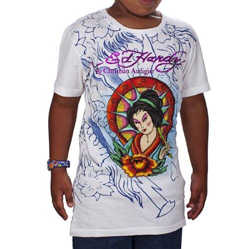 Ed Hardy Big Girls' Geisha T-Shirt - White - Large