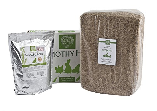 Small Pet Select Deluxe Combo Pack: Timothy Hay (10 lb.), Guinea Pig Food (10 lb.), Bedding (178L)