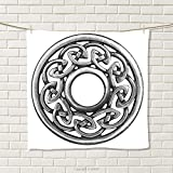 smallbeefly Celtic Hand Towel Royal Style Circular Celtic Pattern Graphic Print Metal Brooch Design Scottish Shield Quick-Dry Towels Silver Size: W 20'' x L 39''