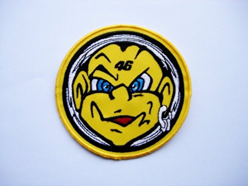 /Head/ /Valentino Rossi/ /Motorbike/ /Motorsport Motorcycles Biker Iron on Patch/ Patches/ /The Doctor 46/ /Applique Embroidery E /Yellow Black/