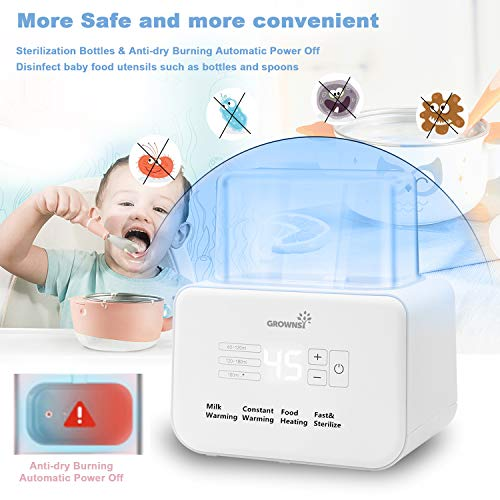 510gAftPr8L - Baby Bottle Warmer, Bottle Sterilizer 6-in-1Fast Baby Food Heater&Defrost BPA-Free Warmer With LCD Display Accurate Temperature Control For Breastmilk Or Formula