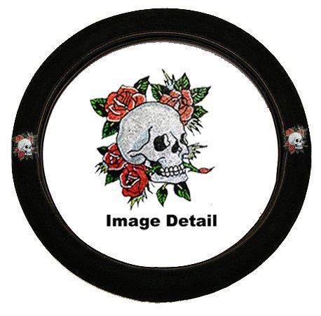White Happy Skull w/ Red Roses Gem Crystal Studded Rhinestone Bling Car Truck SUV Steering Wheel Cover