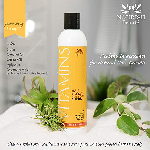 Nourish Beaute Vitamins Shampoo for Hair Loss that Promotes Hair Regrowth, Volume and Thickening with Biotin, DHT Blockers, Antioxidants, Oils and Extracts, For Men and Women, 1 10 Ounce