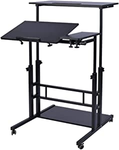 AIZ Mobile Standing Desk, Adjustable Computer Desk Rolling Laptop Desk Cart on Wheels Home Office Computer Workstation, Portable Laptop Stand Tall Table for Standing or Sitting, Black