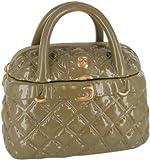 Neiman Marcus Quilted Handbag Cookie Container - Ceramic Cookie Jar - Beige and Gold