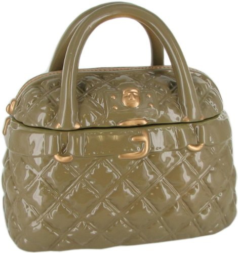 Neiman Marcus Quilted Handbag Cookie Container - Ceramic Cookie Jar - Beige and Gold (The Cookie Jar Bakery)
