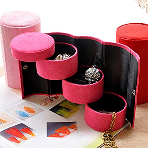 Gotian Jewelry Box Storage Organizer Case Ring Earring Necklace Flannel + MDF, Multi-Layer Storage, Chic Shape, Stylish and Refined - 13.5cm (L) x8.5cm (W) x8.5cm (H) (Hot Pink)