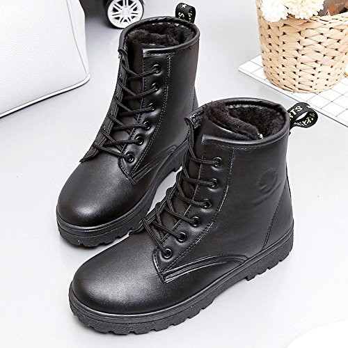 Invierno Piel superficie resistente al agua base de espesor con alta ayuda Martin de encaje corto algodón grueso zapatos antideslizantes negro