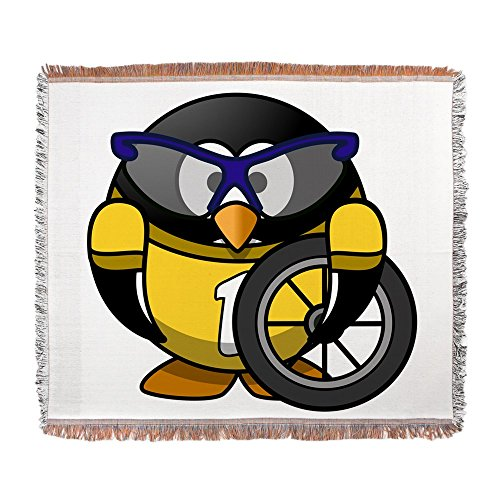 Woven Blanket Little Round Penguin - Cyclist in Yellow Jersey