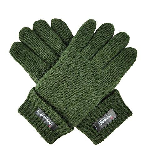 Rag Wool Gloves (Bruceriver Men's Pure Wool Knitted Gloves with Thinsulate Lining Size L/XL (Green))
