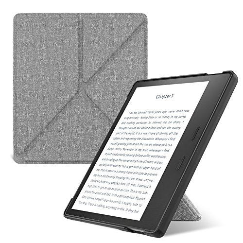 MoKo Case for All-New Kindle Oasis (9th Generation, 2017 Release ONLY) - Slim Shell Origami Stand Cover with Auto Wake/Sleep for Amazon 7'' Kindle Oasis E-Reader Case, Denim Gray by MoKo
