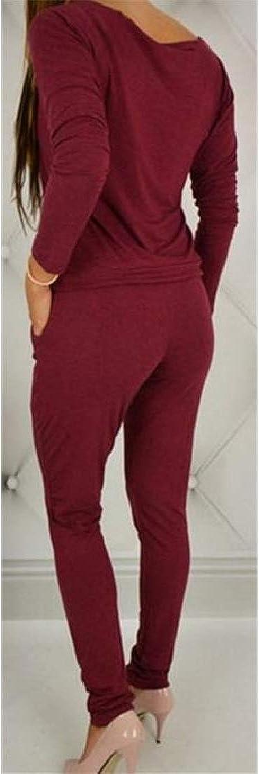 Cromoncent Womens Classic Off Shoulder Pencil Pant Pocket Romper Jumpsuit Claret S