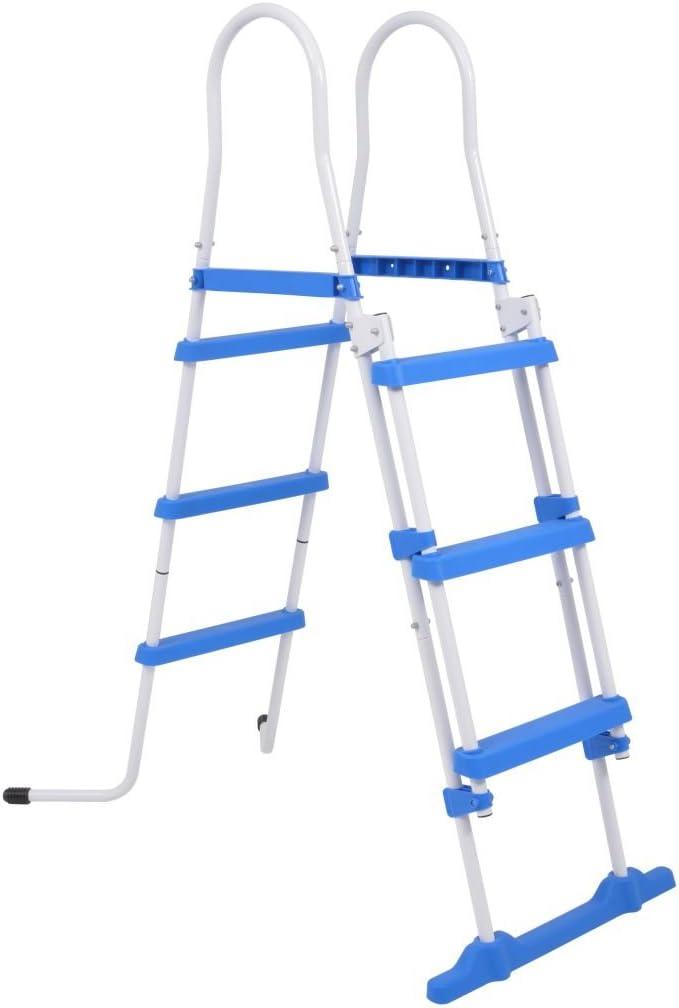 festnight escalera escalera de seguridad para piscinas fuera Terra 3 peldaños 107 cm/122 cm) (acero y plástico: Amazon.es: Hogar