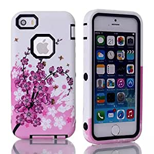 Case for iPhone 5,case for iPhone 5s,5S case,5S cover,iPhone 5 cases,iPhone 5 case,iPhone 5S cover,iPhone 5S case,iPhone 5s hard case,fashion iphone 5s case,Nacycase 2in1 Hybrid High Impact Hard Colorful Flowers Pattern +Silicone Case Cover iPhone 5 case For iPhone 5S & iPhone 5
